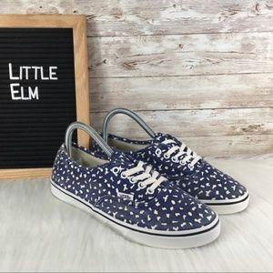 Vans Low Top Leopard Print Womens Size 7 Blue